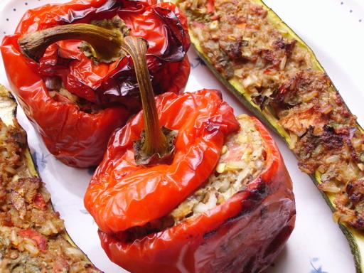 Pikant gevulde paprika's